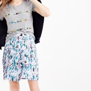 J.Crew Two-tier Pleated Skirt in Watercolor Floral